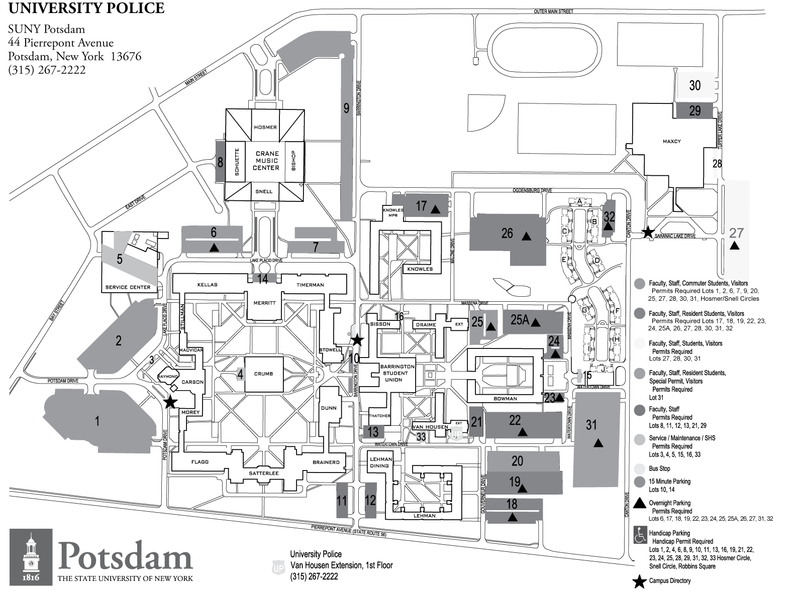 Suny Potsdam Map Parking   NERM 2010 Suny Potsdam Map